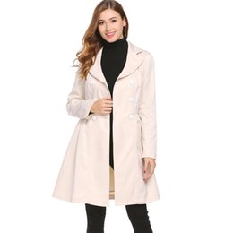 women s slim fit trench Canada - Women Lapel Double Breasted Solid Slim Fit High Waist Casual Long Trench Coat Height 171cm Bust 85cm 60cm Hip 90cm
