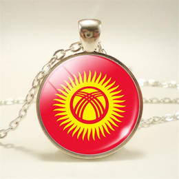 pendant cabochon NZ - 2019 Glass Cabochon Kyrgyzstan National Flag World Cup Football Fan Charm Choker Necklaces Jewelry Pendants Long Chain Female Male Item Gift
