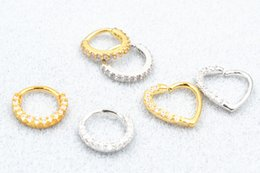 $enCountryForm.capitalKeyWord Australia - 50pcs lot Free Shipping Segment Ring Nose Hoop Rings Ear Cartilage Helix Diath Upper Earring NEW CZ Gems