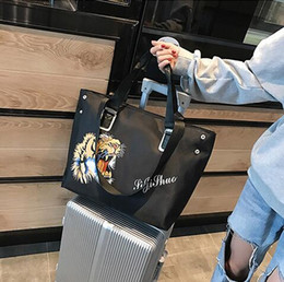 tiger tote bags 2019 - High quality black canvas large tiger printed Shoulder handbags fashion leather shopping bag Never single totes bag size