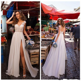Bridal wedding dress royal princess online shopping - 2020 Summer Beach Wedding Dresses A Line Sheer Neck Applique Lace And Chiffon Side Slit Modern Bridal Gowns Robe de Mariee