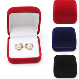 $enCountryForm.capitalKeyWord Australia - Black red blue Wedding Jewellery Velvet Earring Ring Storage Box Gift Packing Box For Jewelry Display Storage Foldable Case C19021601