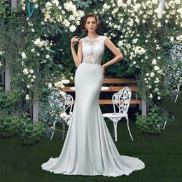 beach wedding dresses trumpet NZ - Charming Beach Wedding Dresses 2019 Plus size Trumpet Sexy See Through Lace Top Scoop Bridal Gowns Vestido de Noiva Custom Made