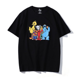 Cotton Print Material NZ - Summer men's T-shirt cotton material Black and white two-color simple cartoon print loose short sleeveoExplosion