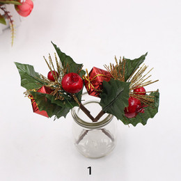 $enCountryForm.capitalKeyWord Australia - 100pcs MOQ Artificial Flower Red Pearl Berries Branch for Wedding Christmas Tree Decoration DIY Craft Holly Berry Stems Floral Arrangement