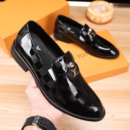 Wholesale working dress fashion resale online - Men s Dress Shoes Fashion Leather Men Business Flat Shoes Black Brown Breathable Men Formal Office Working Shoes Big Size