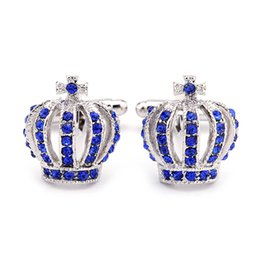 Crystal Crown Cufflinks men women gold silver banquet business suit skrit sleeve Cuff links fashion Jewelry valentine's day gift on Sale