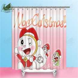popular japanese cartoons NZ - Vixm Japanese popular anime Doraemon Christmas Machine Cat Shower Curtains Movie poster Waterproof Polyester Fabric Curtains For Home Decor
