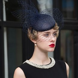 $enCountryForm.capitalKeyWord NZ - FS Hats For Women Dark Blue Pillbox Hats With Veil Wedding Dress Hat Elegant Lady Summer Linen Banquet Cap