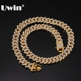 12mm cuban link chain 2021 - UWIN Micro Paved 12mm S-Link Miami Cuban Necklaces Hiphop Mens Iced Rhinestones Fashion Jewelry Drop Shipping