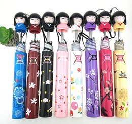 japanese cartoon dolls 2021 - Fashion japanese style woman cartoon girl folding umbrella lady sunny rainy cartoon dolls cute bottle umbrella