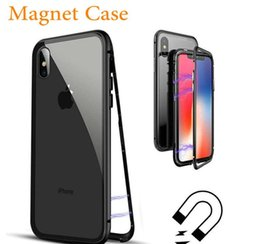 $enCountryForm.capitalKeyWord Australia - Magnetic Adsorption Case for iPhone X 8 7 6 6S Plus Metal Aluminum Frame Tempered Glass Phone Back Cover Magnet Case Galaxy S8 Plus S9