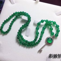 Green Plastic Chain Australia - Green Jade Women 925 Silver Long Beads Winter Sweater Chain Pendant Necklace Large Size Buddha Key Jewelry Gift Wholesale