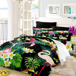 green floral full bedding set 2019 - Tropical Flamingo Bedding Set Jungle Leaves Floral Plant Printed Duvet Cover Set Twin Full Queen King Bedding Cover Home