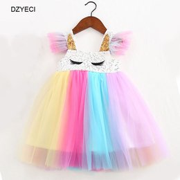 $enCountryForm.capitalKeyWord Australia - Summer Unicorn Costume For Baby Girl Rainbow Lace TUTU Dresses Kid Prom Party Princess Frock Children Disguise Back To School Tunic