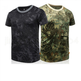 neck tattoo men 2019 - Men's Army Green T-shirts Short Sleeve Quick Dry Camouflage T-shirts Python Tattoo Design multicolor Top breathable