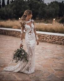 $enCountryForm.capitalKeyWord Australia - 2019 sexy boho Sheer Illusion full Lace Wedding Dresses Sheath Ivory Sexy Bridal Gowns Covered Button sweep train gorgeous Vestido de Novias