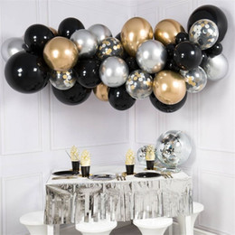 balloons for weddings NZ - 40pcs DIY Black Latex Balloon Gold Silver Metal Confetti Balloons Free Chain For Wedding Engagement Birthday Baby Shower Decors