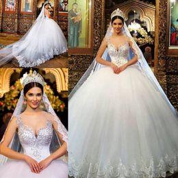 cinderella wedding dress straps 2019 - Arabic Ball Gown Wedding Dresses Princess Sheer Neck Beaded Puffy Lace Church Bridal Gown Plus Size Romantic cinderella