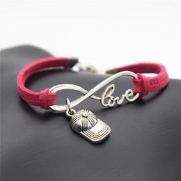 $enCountryForm.capitalKeyWord Australia - New Design Infinity Love Hip Hop Baseball Cap Hat Sports Pendants Charm Bracelets for Women Men Handmade Rose Red Leather Suede Rope Jewelry