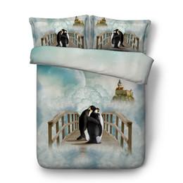 Print Duvet NZ - 3PCS 3D Lovely Animal Penguin Print Quilt Cover Bedding 1 Duvet Cover 2 Pillow Shamswith Zipper Closure For Boys Girls Kids Teens Cotton