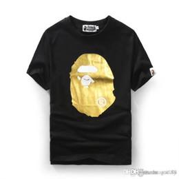 Cartoon Stamping Australia - 2018 Men's Wear Gold Stamping Cartoon Printing Ape Tshirts Short Sleeved Men Women's T-shirt Justin Bieber Shirts O-neck with Shar
