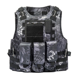 Discount camouflage paintball - Camouflage Molle Gilet Tactical Vests Men Plate Carrier With Pockets Hunting Fishing Paintball Commuter Uniform