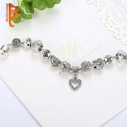 $enCountryForm.capitalKeyWord Australia - BELAWANG 925 Silver Love Heart CZ Pendant Bracelet White Clear Murano Glass Beads Charm Bracelets&Bangles for Women DIY Jewelry Accessories