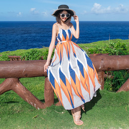 unique summer dresses for women Australia - beach dress for women 2019 new summer orange square print loose casual holiday vacation unique fashion maxi dresses 3900