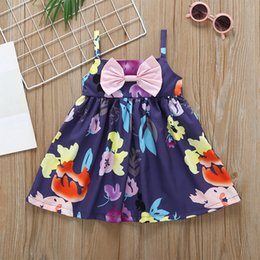 Floral Boutique Clothing NZ - Little Girls Bow Floral Braces Dresses Summer 19 Kids Boutique Clothing Euro America 1-4T Little Girls A-Line Sleeveless Dresses