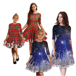 matching mother daughter clothing wholesale Canada - Family Matching Clothes Mother Daughter Dresses Women 3D Print Dress Teen Girl Christmas Dress Mom Girl Party Clothes 8 Styles