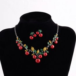 cherry jewelry sets Australia - 1Set Women Fashion Cherry Necklace Earrings Bridal Resin Charm Jewelry Sets