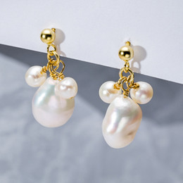 sterling silver french Australia - 925 Sterling Silver French Baroque Natural Shaped Pearl Drop Earrings 1 Big 2 Small Pearls Women Earring Beautiful Noble Jewelry