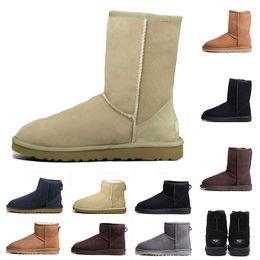 $enCountryForm.capitalKeyWord Australia - Hot New WGG designer Australia women classic snow boots ankle short bow fur boot for winter grey navy black women shoes free shipping