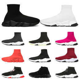 Womens casual shoes online shopping - 2020 Designer Shoes Speed Trainer platform Casual of triple Socks Red bule white Flat Fashion mens womens sports Sneakers fashion size