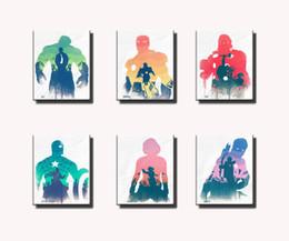 $enCountryForm.capitalKeyWord Australia - Hawkeye Thor Captain America Black Widow Hulk tie Iron Man,6 Pieces HD Canvas Printing New Home Decoration Art Painting Unframed Framed