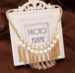 Elegant Diamond Chokers NZ - Europe And The United States Elegant Temperament Metal Flash Diamond Necklace Star Models Pearl Fashion Tassel Clavicle Chain Wholesale