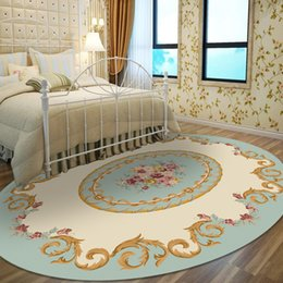 AreA rug styles online shopping - European Pastoral Oval Bedroom Bedside Carpets for Living Room Coffee Dining Table Oval Home Area Rugs Study Room Floor Mat