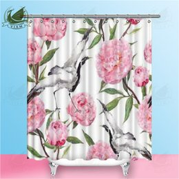 pink curtain fabric NZ - Vixm Crane Birds Dance In Pink Peony Flowers Shower Curtains Plant Calla Lily Waterproof Polyester Fabric Curtains For Home Decor