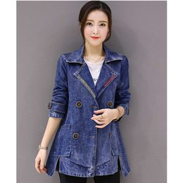 $enCountryForm.capitalKeyWord NZ - Fashion Spring Autumn Women Plus Size long Jean Jacket Coat Female Slim Windbreaker Woman Casual Windproof Denim Jackets Clothes