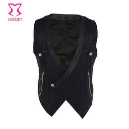 Gothic Chains Australia - Black Striped V Neck Sleeveless Cosplay Medieval Coat Victorian Steampunk Vest Men Retro Vintage Jacket Mens Gothic Clothing