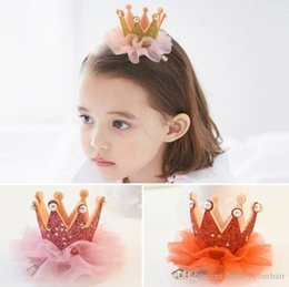 Wholesale Baby Lace Flower Hair Clip Shining Crown Tiaras hairpins Children Girls Hair Accessories Barrettes with Pearl