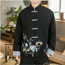 chinese mens fashion jacket UK - 2019 Men Buckle Print Autumn Jackets Mens Vintage Streetwear Oversize BlackJackets Male Chinese Style Fashion Clothes