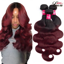 burgundy ombre human hair extensions 2019 - Charmingqueen body wave Virgin hair 1b burgundy body wave Hair Weave bundles ombre body wave human hair extension Non re