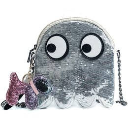 Dog Zipper Australia - Harajuku Pac-man Women Messenger Bags Sequins Chains Eyes Women Shoulder Bags Cute Dog Small Girls Crossbody Bag Mini Lady Bolsa