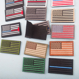 Wholesale fabrics embroidered for clothes for sale - Group buy American Flag Patches Military Uniform Gold Border USA Can Ironing Applique Jeans Fabric Sticker Patches for Hat Decoration DBC BH2666