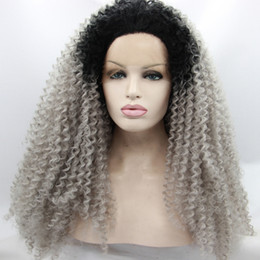 $enCountryForm.capitalKeyWord Australia - Ombre Afro Kinky Curly Gray Synthetic Lace Front Wig Glueless Two Tone Natural Black Silver Grey Heat Resistant Hair Women Wigs