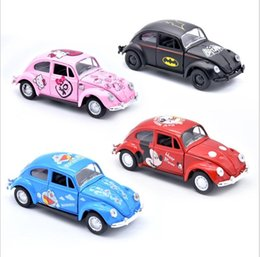 Vintage Toys For Wholesale Australia - Car door can open Q Mini cartoon alloy metal car model pull back children's toy Retro bus 4 styles for kids gift TOYS Vintage car