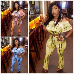 Tie kiTs online shopping - Plus Size Sportswear Piece Suit Off Shoulder Shirts Top Wide Leg Pants Tie Dyed Tracksuit Fashion Ladies Home Clothes Kit cs E1