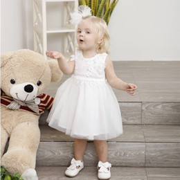 $enCountryForm.capitalKeyWord NZ - Child Wedding Birthday Party Dress For 1-6 Year Girl White Dresses Hot Sale Lovely Baby Flower Big Bow Veil Style Clothing